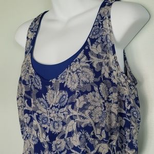 Cabi Willow Double Dress #851 Blue Sheer Floral M